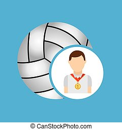 athlete medal volley ball icon graphic vector illustration