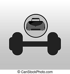 fitness sport bag icon barbell vector illustration