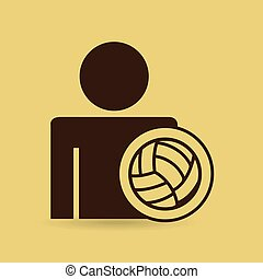 man silhouette volley ball design vector illustration eps 10