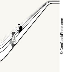 People move on escalator - People move upwards and downward...