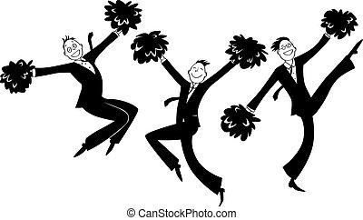 Business cheerleaders - Cartoon businessmen doing...