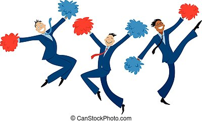 Business team motivation - Cartoon businessmen doing...