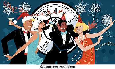 New Year's eve Gatsby style - Group of people dressed in...