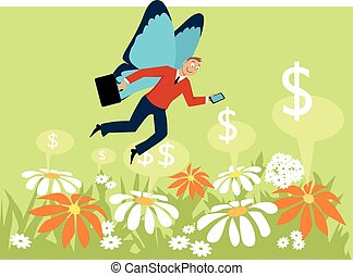 Gig economy - Businessman with butterfly wings flying over a...