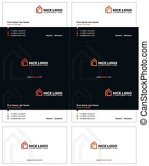 house logo business card 1 - house business cards, red and...