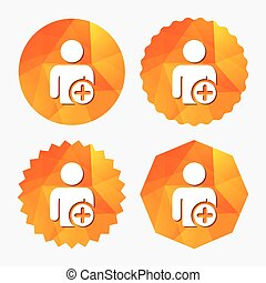 Add user sign icon. Add friend symbol. Triangular low poly...