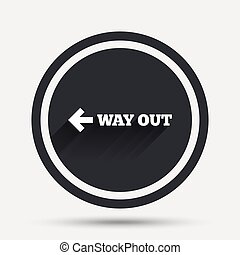 Way out left sign icon. Arrow symbol. Circle flat button...