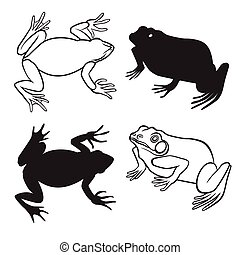 Two frog silhouettes - Two frog figures in silhouette and...