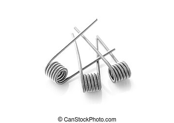 Clapton coils for vaping on a white background macro closeup...