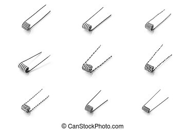 Mix coil for vaping on a white background macro closeup wire...