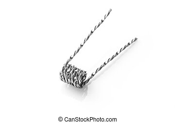Mix twisted coil for vaping on a white background macro...