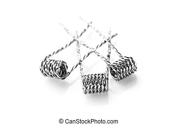 Mix twisted coils for vaping on a white background macro...