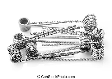 Mix coils for vaping on a white background macro closeup...
