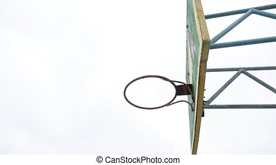 sport old hoop basketball bottom view outdoors rusty iron...