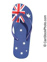 australiano, bandera, correa
