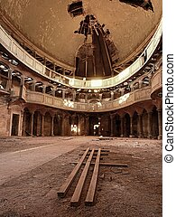 Interier of abandoned church. Vault apse with christian...