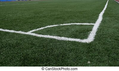 football Soccer field corner with green sport artificial...