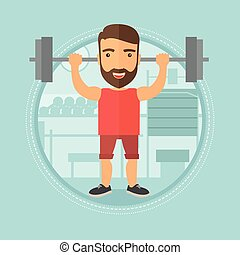 Man lifting barbell in the gym vector illustration