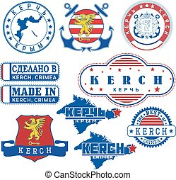 Kerch, Crimea. Set of stamps and signs
