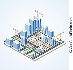 Crane construction industry town Isometric big city