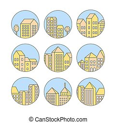 Linear city icons set