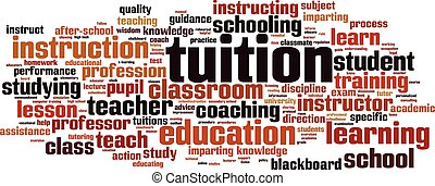 Tuition word cloud.eps - Tuition word cloud concept. Vector...