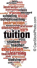 Tuition word cloud concept. Vector illustration