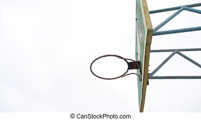 sport old hoop basketball bottom view outdoors iron ball...