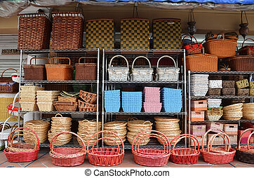 Rattan Basket Trays Shop at outdoor of Arab Street,...