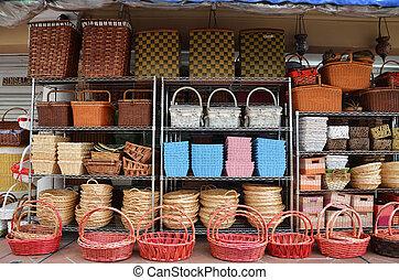Rattan Basket Trays Shop at outdoor of Arab Street,...