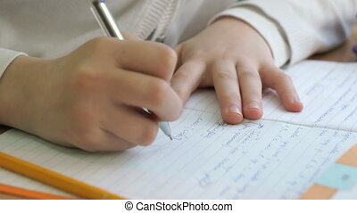 Pupil writes the text in a workbook with a pen - The pupil...