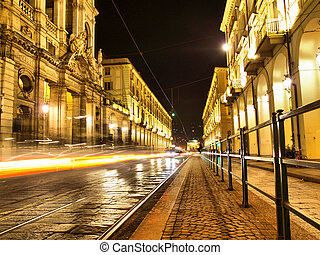 Via Po, Turin - Via Po, ancient central baroque street in...