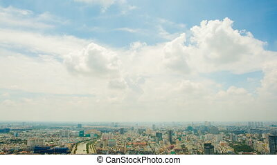 The view from the heights. Saigon. Sky and clouds....