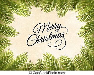 Christmas retro background with a green  tree branches. Vector.