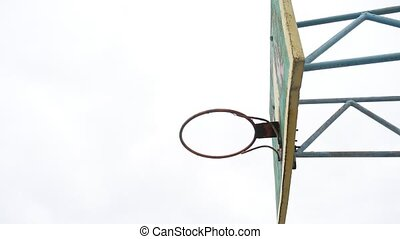 old sport hoop basketball bottom view outdoors rusty iron...