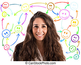 Meet people on social networks - Girl with smiling face with...