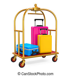 Hotel Luggage Trolley isolated on white background. 3D...