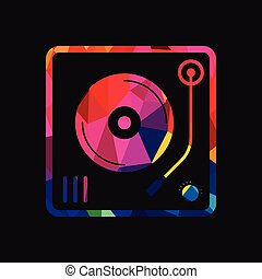 Abstract vinyl turntable polygon background vector illustration