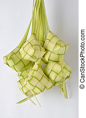 ketupat - new leaf woven ketupat on white background