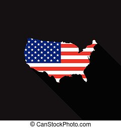 USA flag map flat design vector illustration
