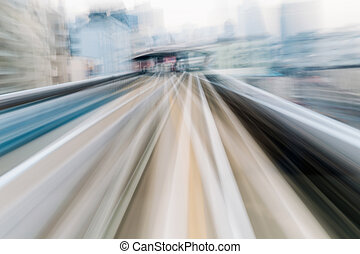 Blurred motion moving tram, abstract background