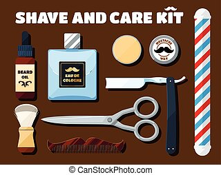 Shaving tools and accessories set for hipsters with shadow