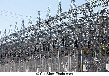 Energy industry electric grid transformer station