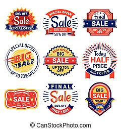Set of sale tags, badges and labels