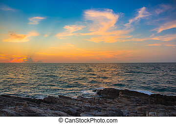Beautiful after sunset sky over coastline, natural landscape...