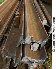steel rails - Depo with stack of old rusty rails
