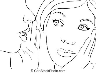 Vector illustration with two gossiping girls.