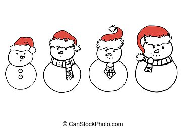 Set of various doodle snowman in Christmas hats for your creativ