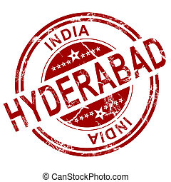 Red Hyderabad stamp with white background, 3D rendering