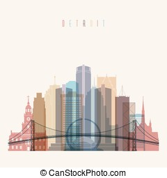 Detroit skyline poster - Transparent styled Detroit state...